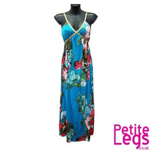 Victoria Gold Plait Strap Maxi Dress in Floral Blue | UK Size 8-12 | Petite Height 5ft1